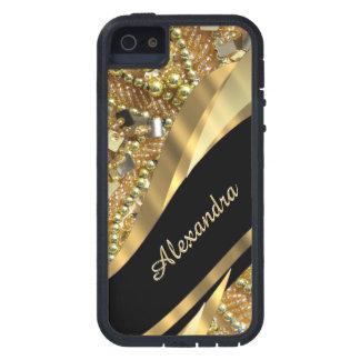 シックでエレガントな黒および金ゴールドのきらきら光るな名前入り iPhone 5 タフ・エクストリームケース