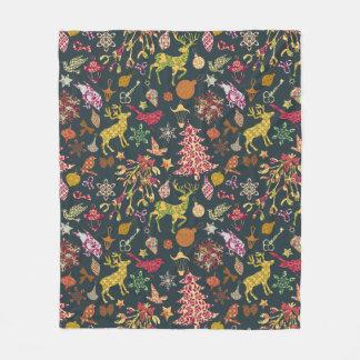 シックでカラフルなお祝いのパッチワークの花柄のダマスク織 フリースブランケット