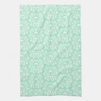 シックでスタイリッシュで華美で真新しい緑のダマスク織パターン キッチンタオル