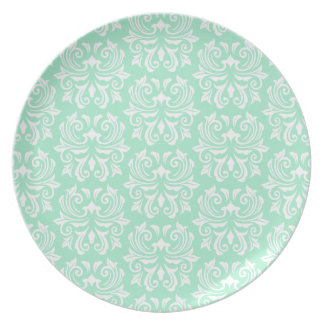 シックでスタイリッシュで華美で真新しい緑のダマスク織パターン プレート