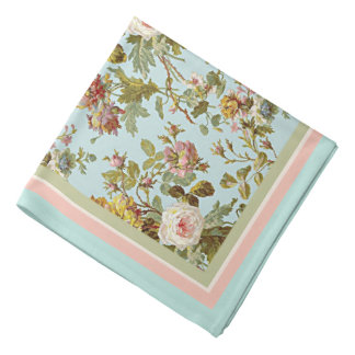 シックでスタイリッシュなヴィンテージのピンクのバラの花模様 バンダナ