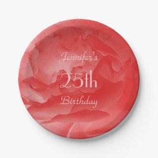 シックでフェミニンな珊瑚のピンクのバラ、第25誕生日 ペーパープレート
