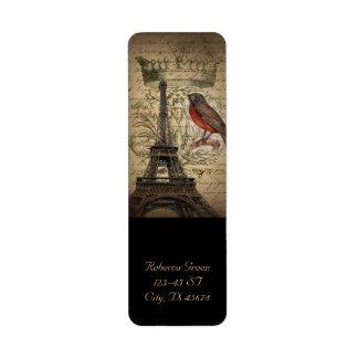 シックでフランスのな鳥のモダンなヴィンテージのパリエッフェル塔 ラベル