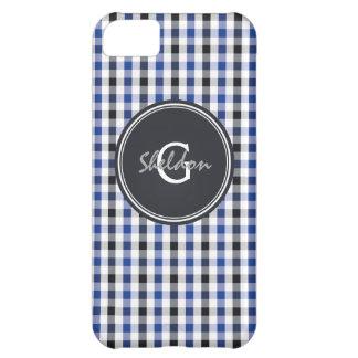 シックでプレッピーな暗藍色のギンガムパターンモノグラム iPhone5Cケース