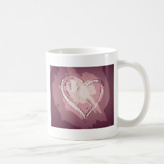 シックでモダンなシャンペンのバラの抽象芸術のハート コーヒーマグカップ