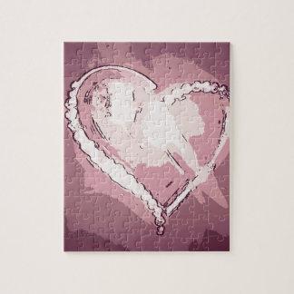 シックでモダンなシャンペンのバラの抽象芸術のハート ジグソーパズル