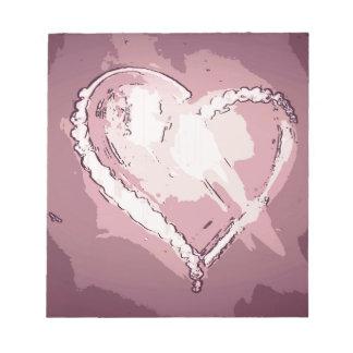 シックでモダンなシャンペンのバラの抽象芸術のハート ノートパッド