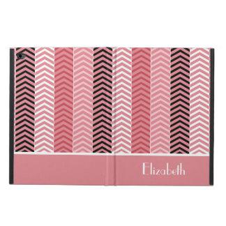 シックでモダンなピンクのシェブロンは名前と縞で飾ります POWIS iPad AIR 2 ケース