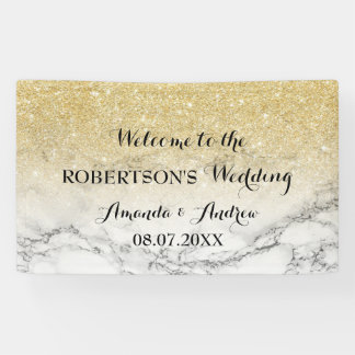 シックで模造のな金ゴールドのグリッターの大理石の結婚式 横断幕