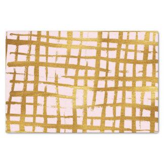 シックで模造のな金ゴールドのペンキブラシストローク格子図形のピンク 薄葉紙