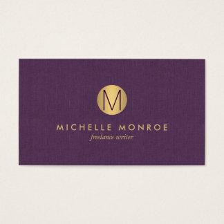 シックで模造のな金ゴールドの最小主義のモノグラムの紫色の麻布 名刺