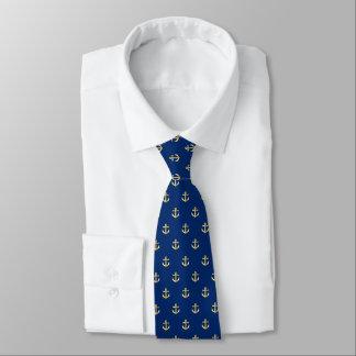 シックで模造のな金ゴールドの航海のないかりパターン オリジナルネクタイ