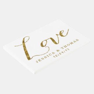 シックで模造のな金ゴールドホイル愛カスタムな結婚式愛 ゲストブック