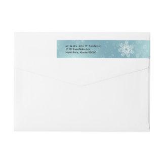 シックで白い雪片の覆いの差出人住所ラベル ラップアラウンド返信用宛名ラベル