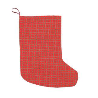 シックで赤いおよび緑の正方形パターン スモールクリスマスストッキング