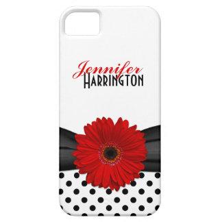 シックで赤いガーベラのデイジーの水玉模様のiPhone 5の箱 iPhone SE/5/5s ケース