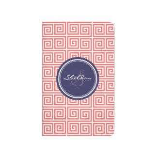シックで赤いギリシャ人の鍵幾何学的なパターンモノグラム ポケットジャーナル