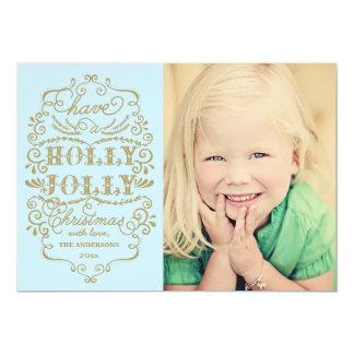 シックで青いヒイラギのすてきなクリスマスのカスタムな写真カード 12.7 X 17.8 インビテーションカード