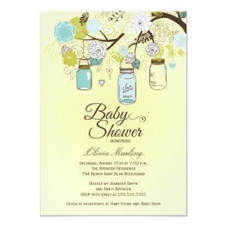 シックで青いメーソンジャーの花のベビーシャワーの招待 カード