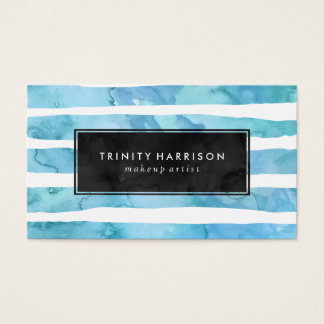 シックで青い水彩画は|の黒板を縞で飾ります 名刺