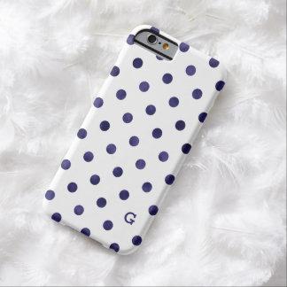 シックで青および白い水玉模様パターンモノグラム iPhone 6 ベアリーゼアケース