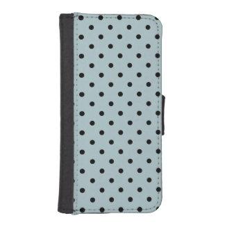 シックで青および黒い水玉模様 iPhoneSE/5/5sウォレットケース