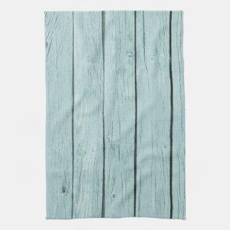 シックで青く素朴な木 キッチンタオル