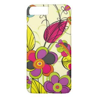 シックで黄色い花模様 iPhone 8 PLUS/7 PLUSケース