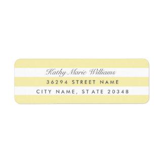 シックで黄色くストライプのな宛名ラベル 返信用宛名ラベル