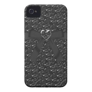 シックで黒いスパンコール、弓及び宝石のハートのiPhone 4 Case-Mate iPhone 4 ケース