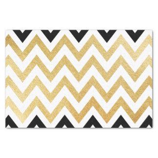シックで黒い金ゴールドの模造のな葉のシェブロンパターン 薄葉紙