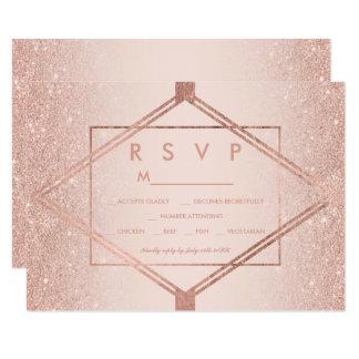 シックなのどのばら色の金ゴールドのダイヤモンドの赤面RSVPの結婚式 カード