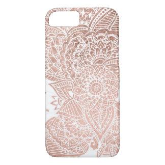 シックなのどのばら色の金ゴールドの花の曼荼羅の絵 iPhone 8/7ケース