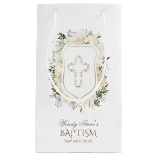 シックなアイボリーの水彩画の花の女の子の《キリスト教》洗礼式や命名式 スモールペーパーバッグ