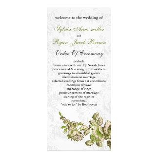 シックなアイボリーの緑のヴィンテージの花の結婚式 ラックカード
