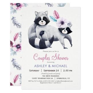 シックなアライグマのカップルのシャワー カード