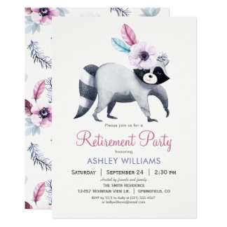 シックなアライグマの退職パーティー カード