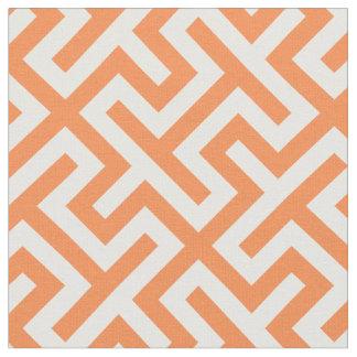 シックなオレンジおよび白抽象的で幾何学的なパターン ファブリック