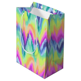 シックなカラフルの抽象芸術のネオンシェブロンパターン ミディアムペーパーバッグ