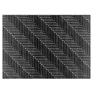 シックなガラス切断BOARD_BLACK/GREY/WHITEのジグザグ形 カッティングボード