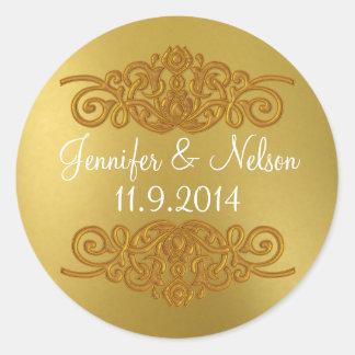 シックなゴールド・トーンの結婚式の封筒用シール ラウンドシール