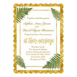 シックなシダは金ゴールドホイルの結婚式招待状を去ります カード