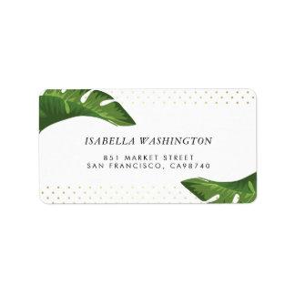 シックなシュロの葉の熱帯結婚式の住所 宛名ラベル