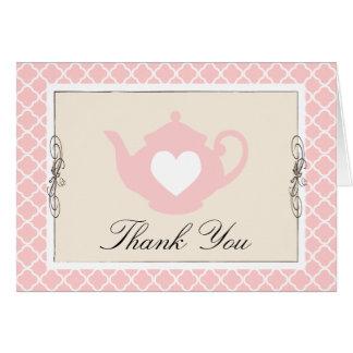 シックなタン及びピンクのティーポットの格子垣のサンキューカード カード