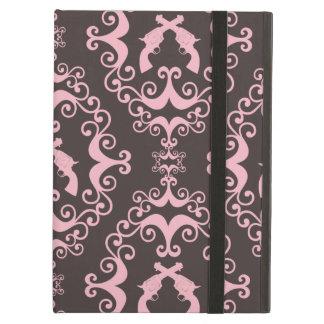 シックなダマスク織のピンクの黒い銃のグランジな西部のピストル iPad AIRケース