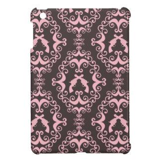 シックなダマスク織のピンクの黒い銃のグランジな西部のピストル iPad MINIケース