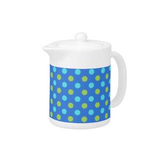 シックなティーポット: 、緑青い、ターコイズの水玉模様