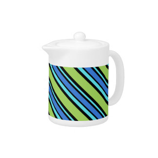 シックなティーポット、青、緑は、黒い対角線縞で飾ります