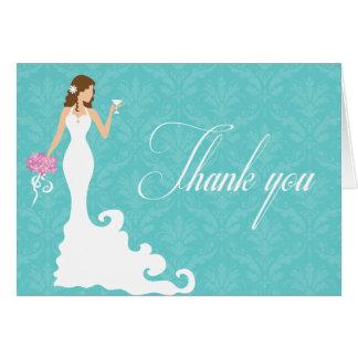 シックなティール(緑がかった色)のワインのモダンな花嫁は感謝していしています カード