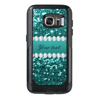 シックなティール(緑がかった色)の模造のなグリッターおよびダイヤモンド オッターボックスSamsung GALAXY S7ケース